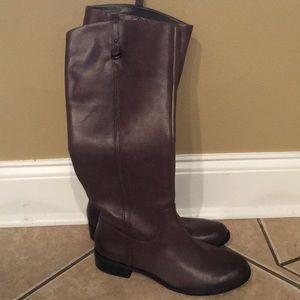 Gianni Bini gray leather riding boots 9.5
